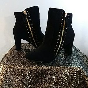 Black with Gold Studs Ankle Boots